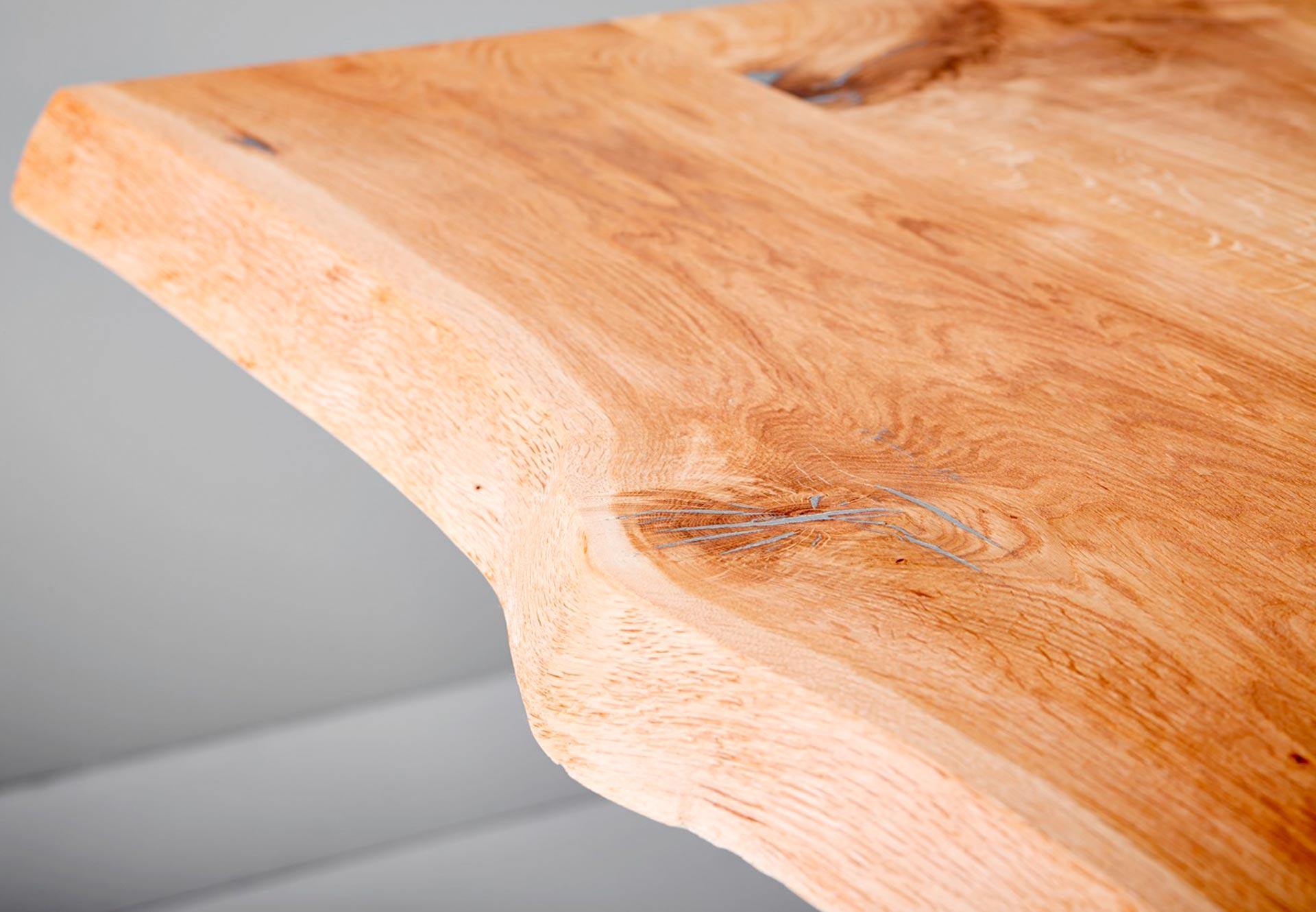 Esstisch Baumkante eiche Raute Tischplatte Detail